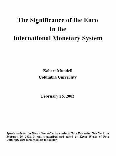 The Significance of the Euro in the International Monetary System