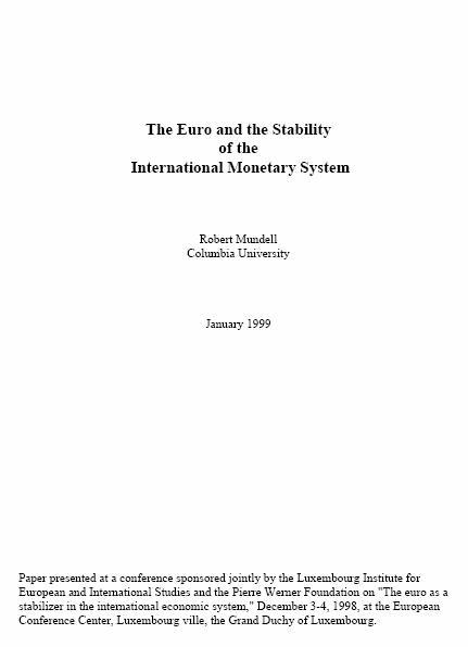 The Euro and the Stability of the International Monetary System
