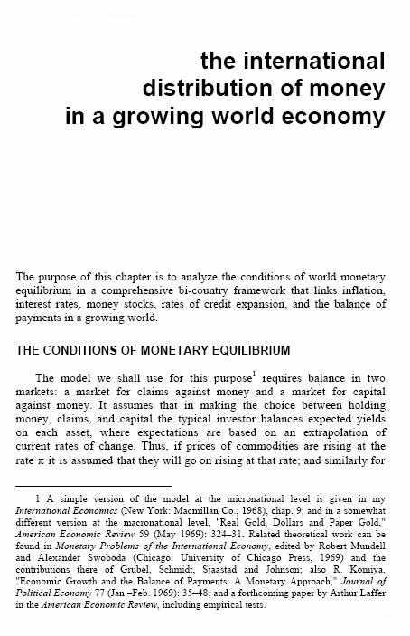 The International Distribution of Money in a Growing World Economy