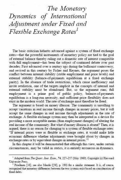 The Monetary Dynamics of International Adjustment Under Fixed and Flexible Exchange Rates