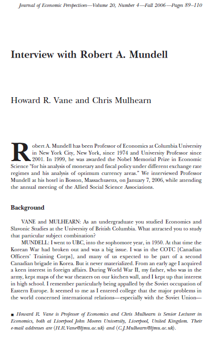 Robert Mundell Interview, Journal of Economic Perspectives